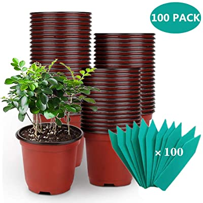 SHEEFLY 100 Pack Plant Nursery Pots 4 inch Plastic Plant Pots, Soft Durable Reusable Seed Starting Pots for Succulents Plants Vegetables Fruits Seedlings Cuttings Transplanting with 100 Plant Labels: Garden & Outdoor