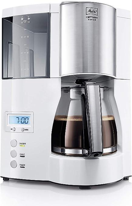 Melitta Cafetera de filtro con jarra de vidrio, Función temporizador y conservación de temperatura, Optima Timer, Blanco, 1008-01: Amazon.es: Hogar