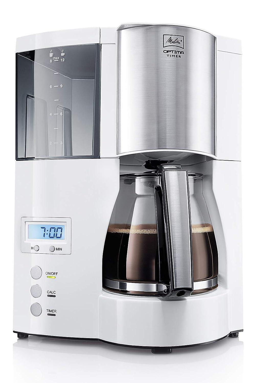 Melitta Cafetera de filtro con jarra de vidrio, Función temporizador y conservación de temperatura, Optima Timer, Blanco, 1008-01