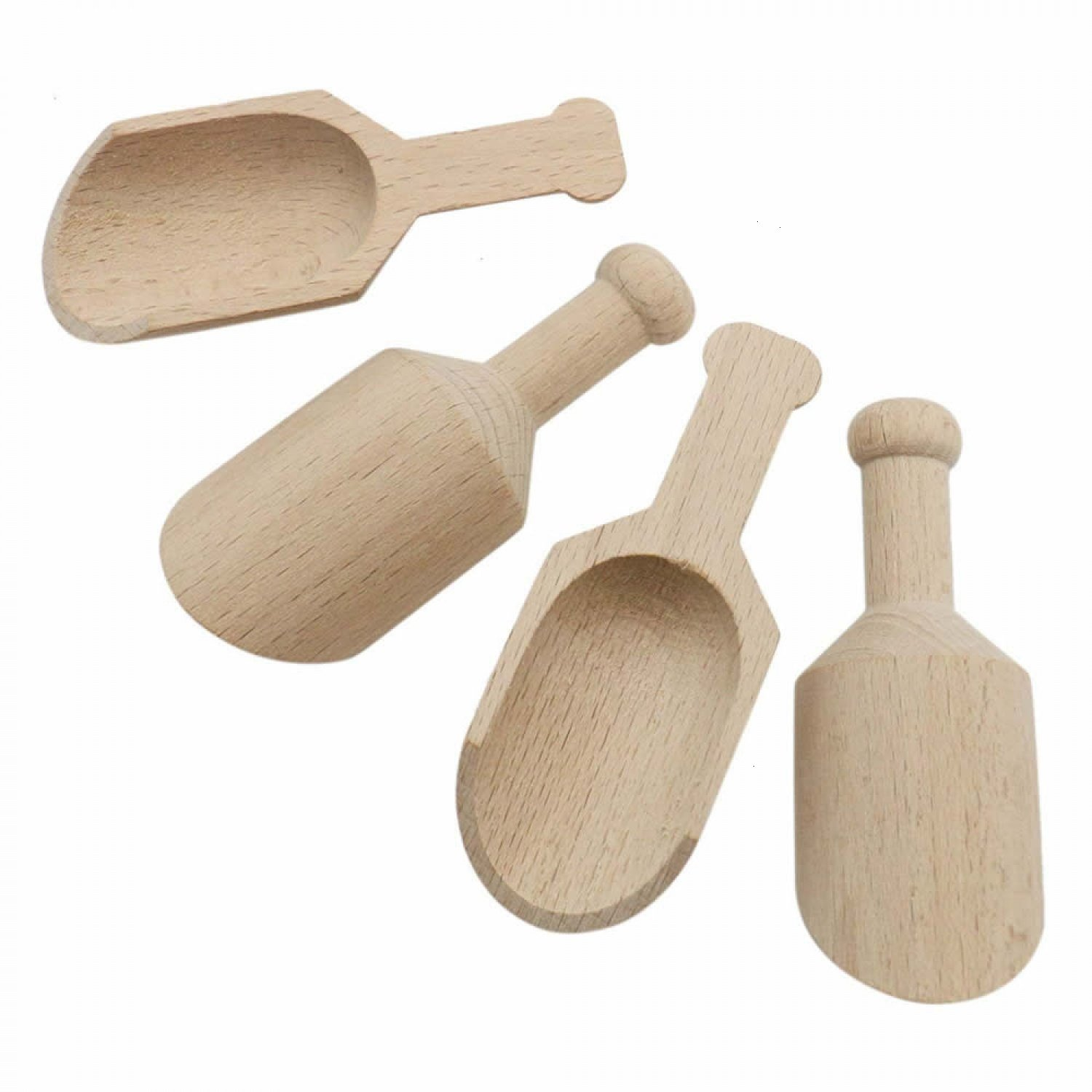 Buorsa 20 Pcs Mini Wooden Scoops for Bath Salts Essential Wooden Candy Spoon Scoops Salt Scoops,80X30mm