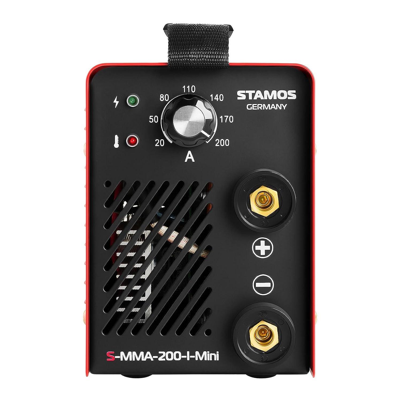 Stamos Germany - S-MMA 200 I mini - Equipo de soldar MMA - Corriente de soldadura regulable entre 20-200 Amperios - 60% Ciclo de trabajo - Potente ...