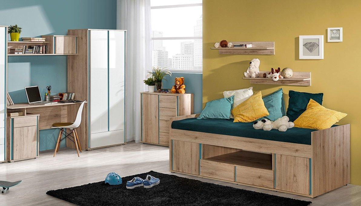 Kinderzimmer Jugendzimmer MAXIM 8tg komplett Set B weiß hochglanz oder Eiche Schrank Schreibtisch Bett 90x200 Kommode NEU