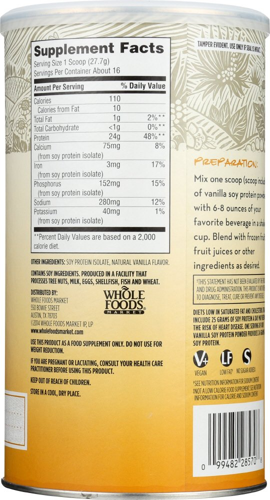365 Everyday Value, Soy Protein Powder, Unsweetened Vanilla Flavor, 15.63 oz by 365 Everyday Value (Image #4)