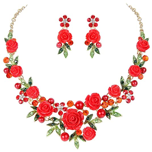 Retro Tiki Dress – Tropical, Hawaiian Dresses Austrian Crystal Simulated Pearl Rose Flower Leaf Necklace Earrings Set $22.99 AT vintagedancer.com