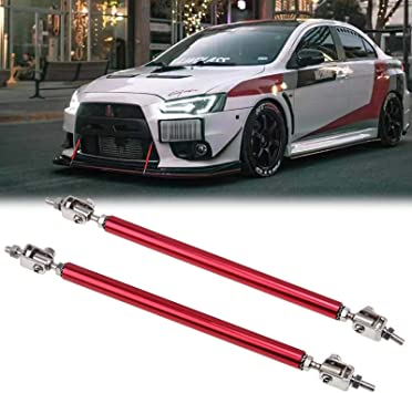 Xotic Tech Adjustable 8-11 Front Bumper Lip Splitter Diffuser Strut Rod Tie Bars Fit Most Vehicles Black