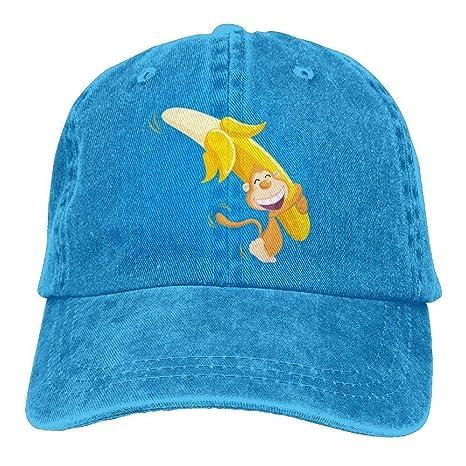 ARTOPB Warm Monkey And Banana Denim Baseball Caps Hat Adjustable Cotton  Sport Strap cap for Men e7a1f2dffd2