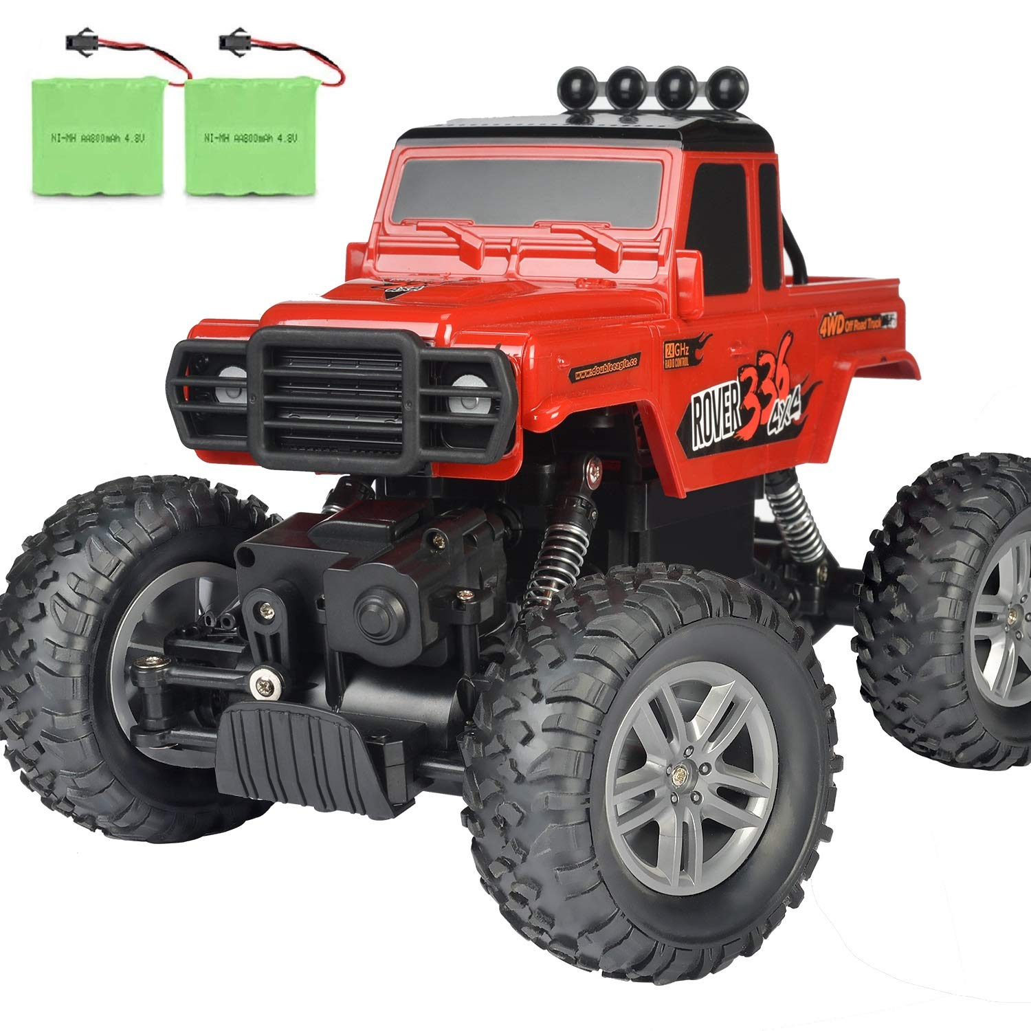 Double E RC Car Off Road Remote Control Car DIY Sitcker 2 Batteries Monster Trucks for Boys 2.4Ghz Climbing RC Crawler