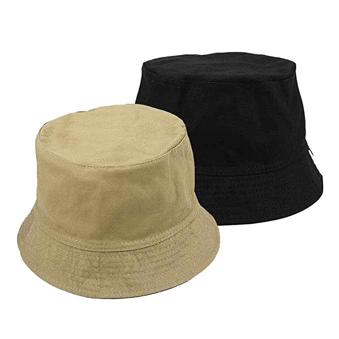 194914a7402 Faleto Bucket Hat Boonie Hat Wide Brim Fishing Hat Reversible Cotton Casual Plain  Cap Black  Amazon.co.uk  Clothing