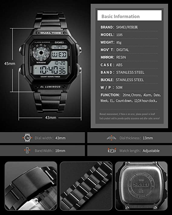 Amazon.com: Fashion Men Outdoor Sports Watches Square Case Multifunction Electronic Digital Business Wristwatches Waterproof LED Back Light: Watches