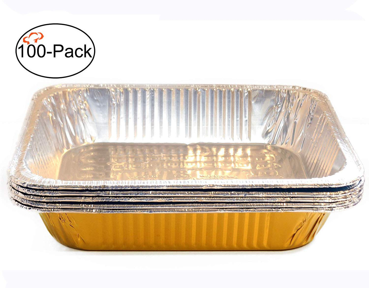 Tiger Chef Chafing Pans 100-Pack Gold Disposable Aluminum Foil Steam Table Deep Baking Pans, Half Size - 12.75in x 10.38in x 2.5in