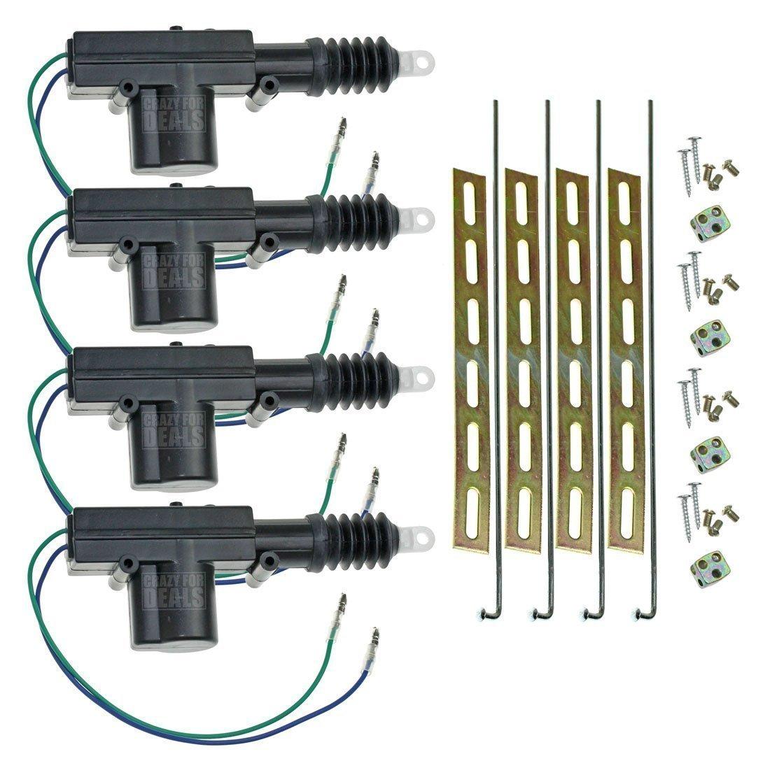 Installgear Universal Car Power Door Lock Actuator 12 451m Relay Wiring Diagram 5 Wire Volt Motor 4 Pack Automotive