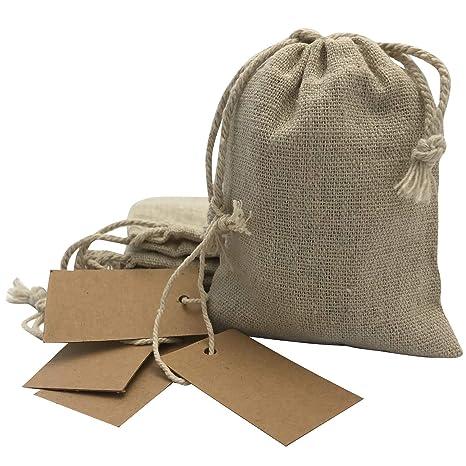 DUAMY Bolsitas para Regalos de Tela de arpillera con Etiquetas de Papel Kraft. Bodas, comuniones, bautizos, etc. Pack de 25 Bolsas/saquitos de Yute y ...