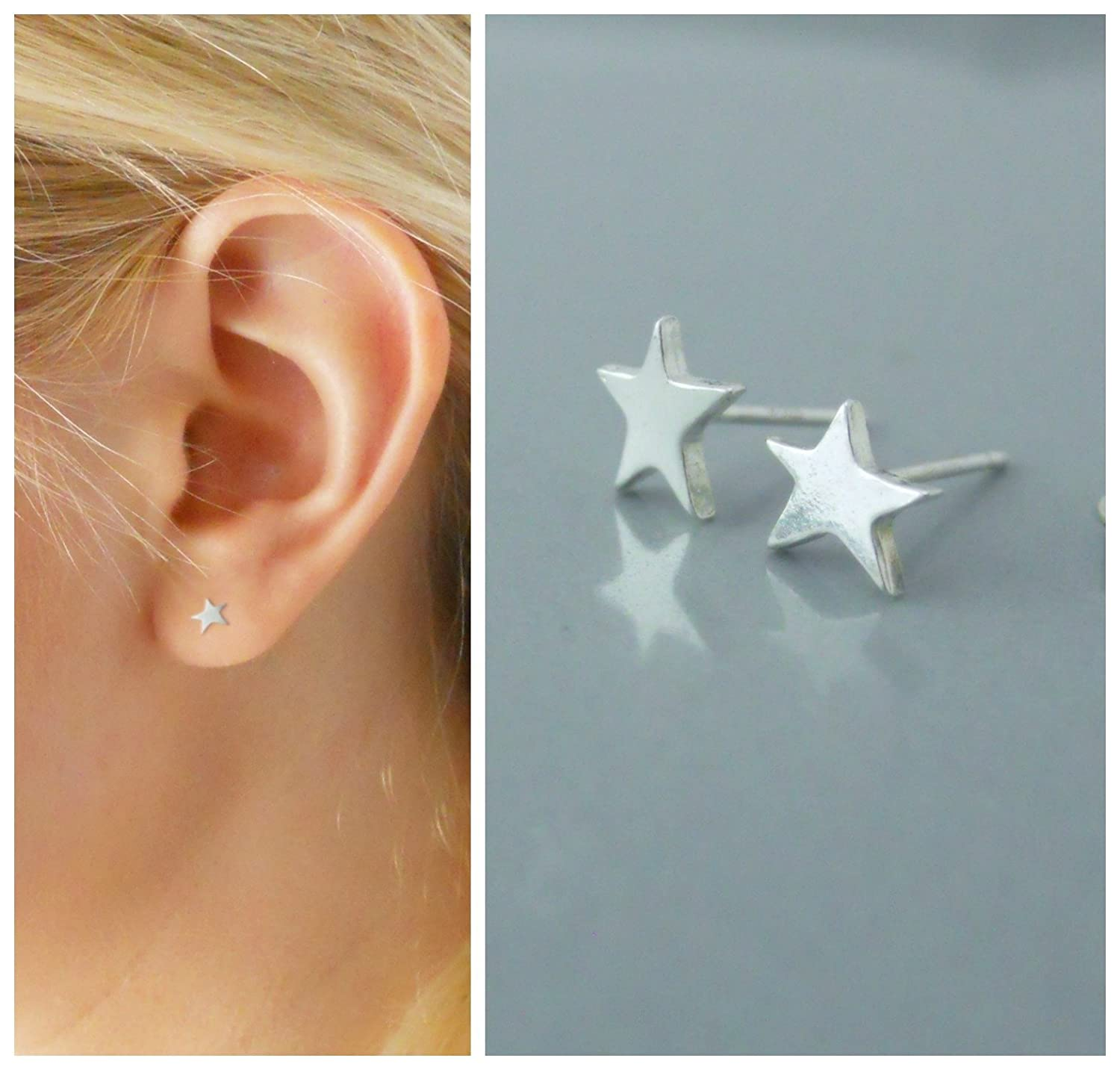 Brand  New  !! Pair Of Sterling Silver  925  Star  Ear Studs  !