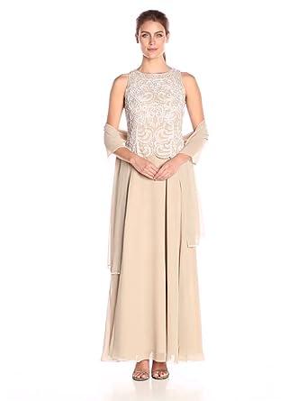 J Kara Women&-39-s Sleeveless Scallop Long Beaded Dress W/ Scarf at ...