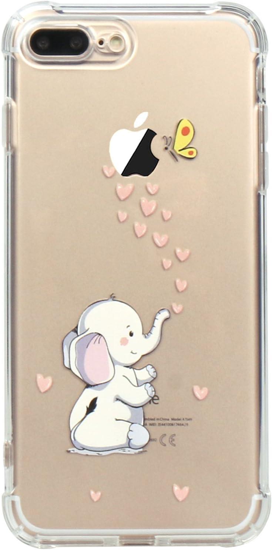 JAHOLAN iPhone 7 Plus Case, iPhone 8 Plus Case Amusing Whimsical Design Clear TPU Soft Case Rubber Silicone Skin Cover for iPhone 7 Plus iPhone 8 Plus - Cute Elephant