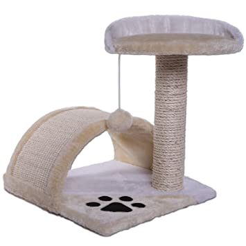 Dibea KB00103 Árbol para Gatos, Rascador Pequeño, Altura 43 cm, Color Beige y Blanco: Amazon.es: Productos para mascotas