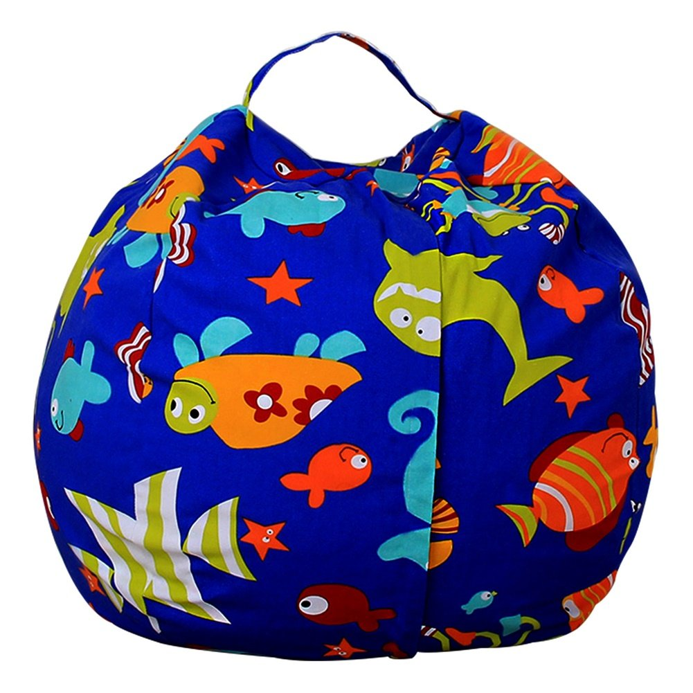Amyove 38inch Stuffed Animal Storage Bean Bag Cover Kids Plush Toys Storage Pouch Colorful High-capacity Durable Canvas Household Goods Storage Bag YCK16