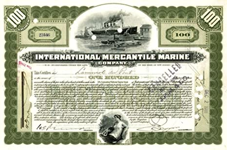 1917 Scarce Original Titanic Stock Certificate Engraved In 1902 Hand Signed Various Share Amounts Extremely Fine