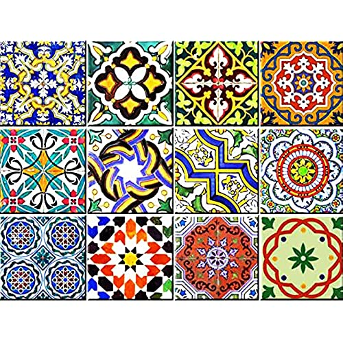 Backsplash Tile Stickers 24 PC Set Authentic Traditional Talavera Tiles Bathroom Kitchen Decals Easy To Apply Just Peel And Stick Home Decor