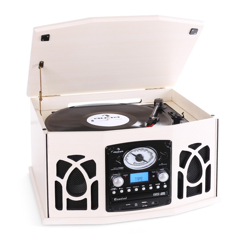 Auna NR-620 • Retro • Tourne-Disque • chaîne stéréo • Transmission par Courroie • Max. 45 Tours • Radio • FM/AM • Affichage de la Bande de fréquence • Haut-parleurs • Port USB/SD • Blanc crème product image