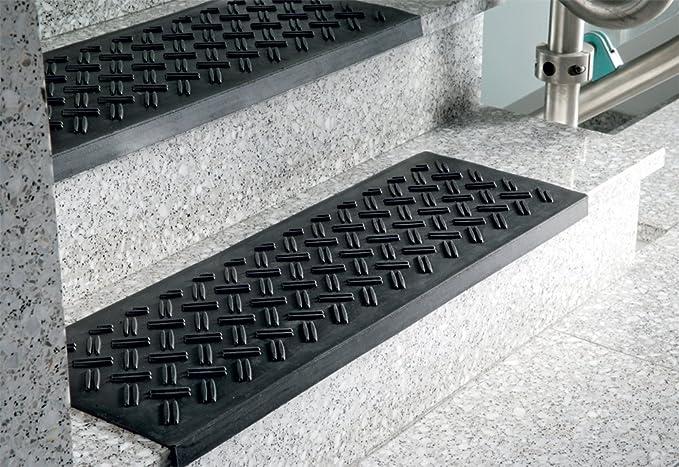 Escalera antideslizante alfombra de goma, 25 x 75 cm, negro - con alfombra con estructura de chapa estriada: Amazon.es: Bricolaje y herramientas