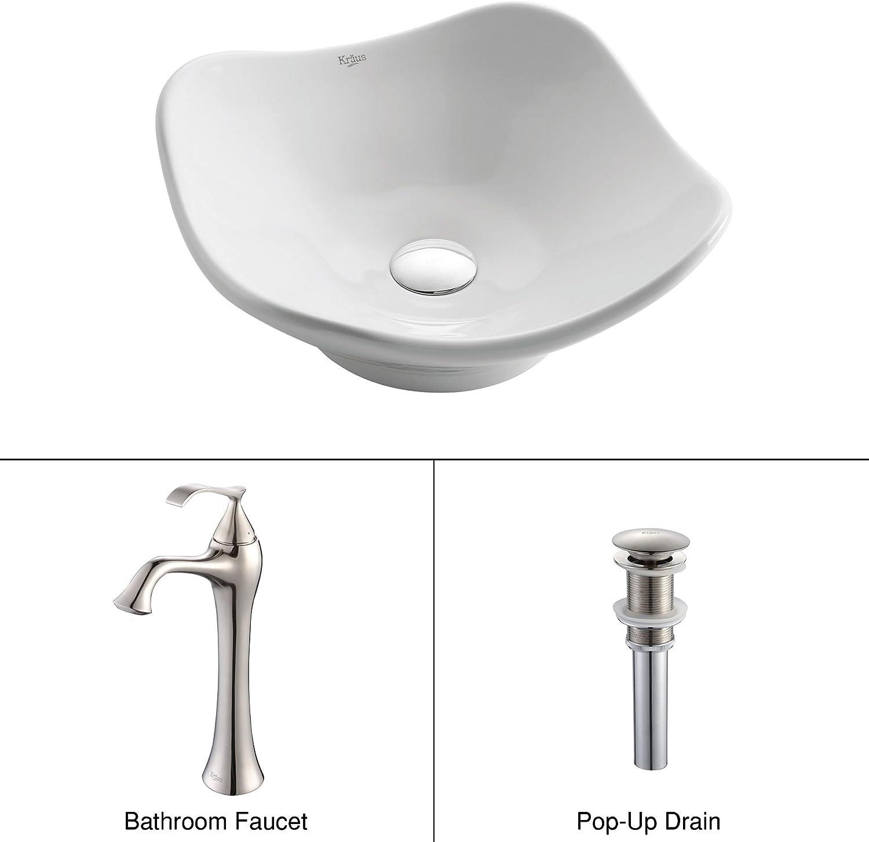 Kraus C-KCV-135-15000BN White Tulip Ceramic Sink and Ventus Faucet Brushed Nickel