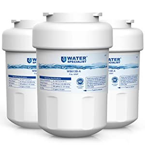 Waterspecialist NSF 53&42 Certified MWF Refrigerator Water Filter, Replacement for GE SmartWater MWFP, MWFA, GWF, HDX FMG-1, WFC1201, GSE25GSHECSS, PC75009, RWF1060, 197D6321P006 (Pack of 3)