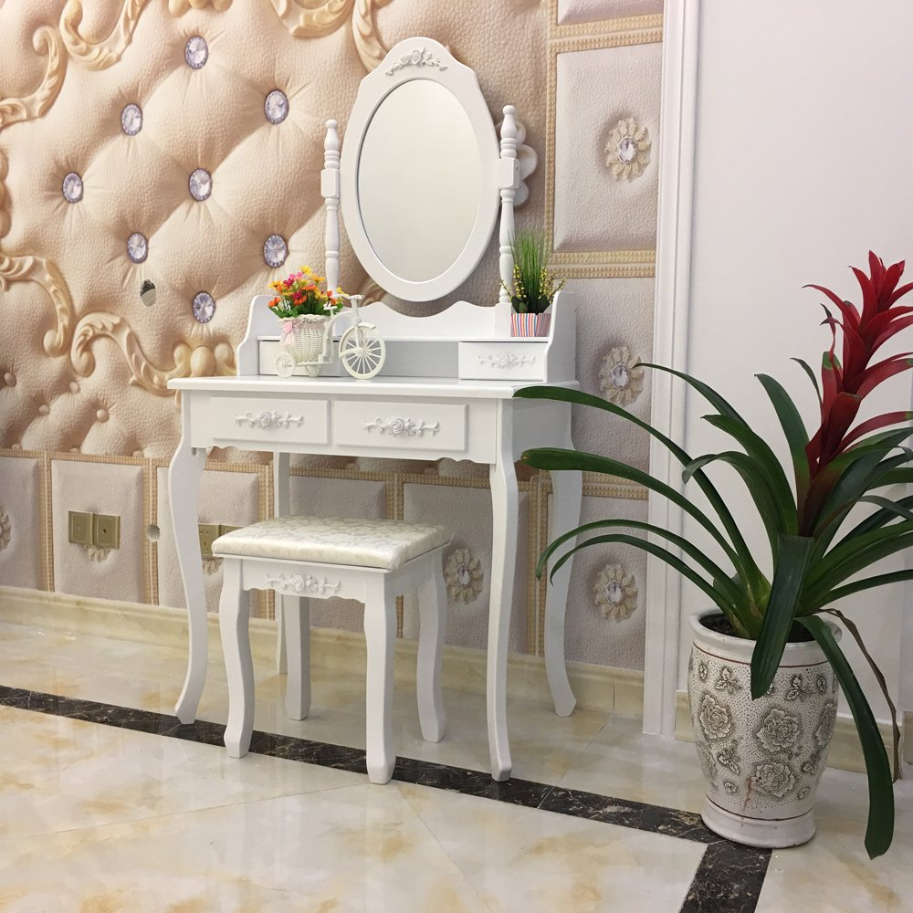 FCH Wooden White 4 Drawers Vanity Table Set Princess Vanity Makeup Table with Cushioned Stool by FCH (Image #5)