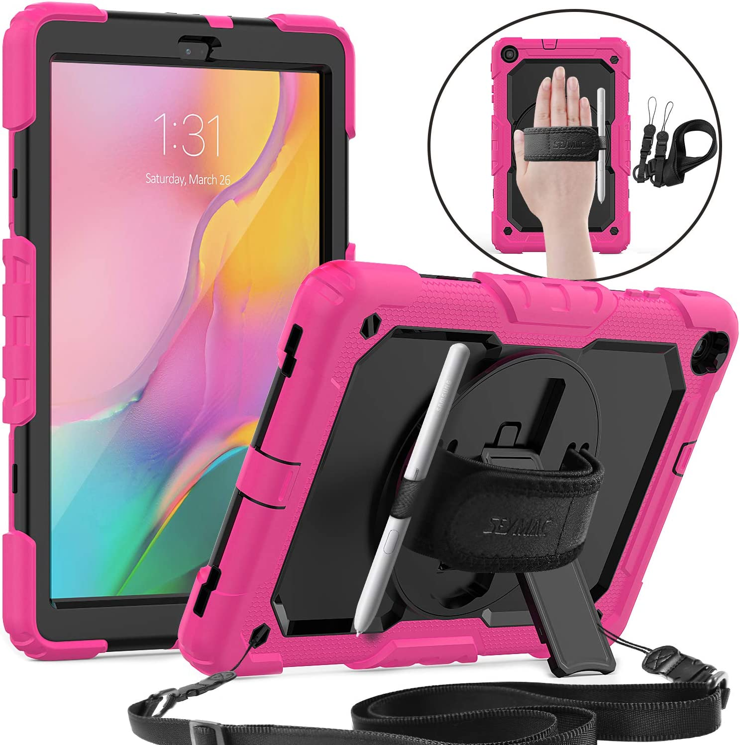SEYMAC Galaxy Tab A 10.1 2019 Case, SM-T510/T515/T517, [360 Rotate Hand Strap &Stand] Rugged Protective Case with Shoulder Strap Pen Holder Screen Protector Compatib Samsung Tab A 10.1 2019-Black/Pink
