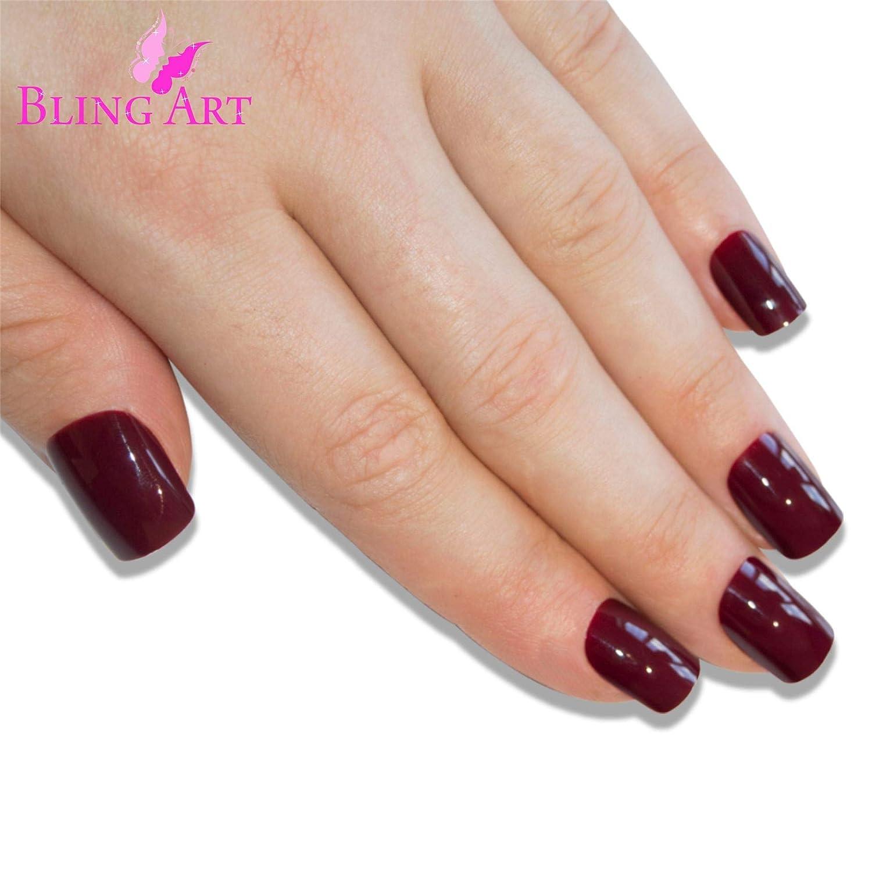 Uñas Postizas Bling Art Rojo Marrón Pulido 24 Squoval Medio Falsas puntas acrílicas con pegamento: Amazon.es: Belleza