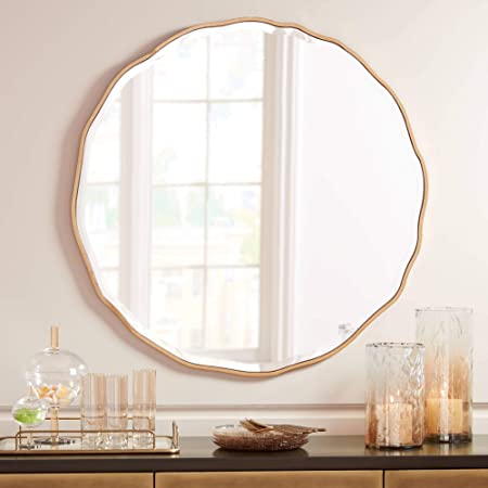 Noble Park Lissa Gold Waved Edge 31 1 2 x 31 1 2 Wall Mirror