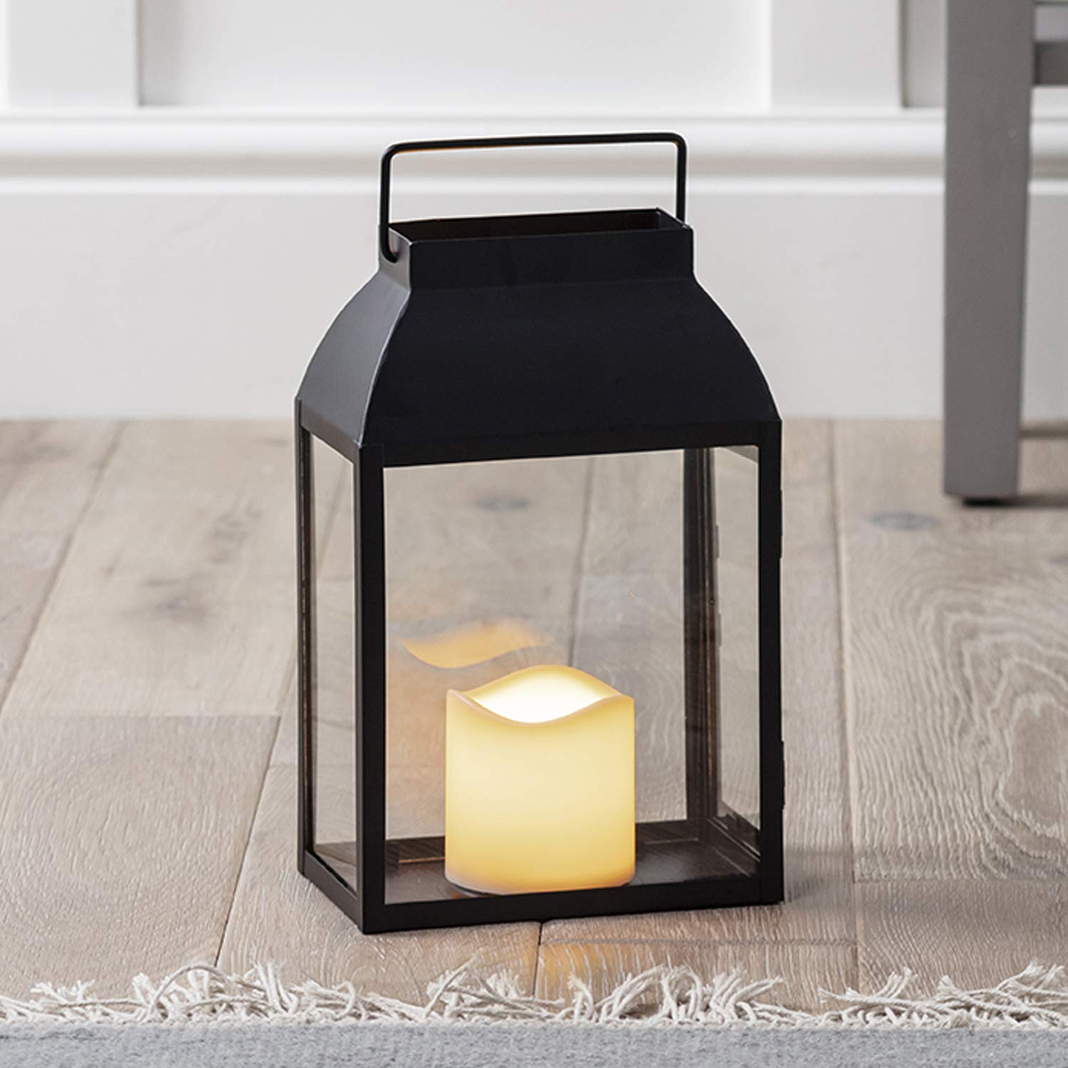 Lights4fun Regular Black Metal Battery Operated LED Flameless Candle Lantern for Indoor Outdoor Use Inc.