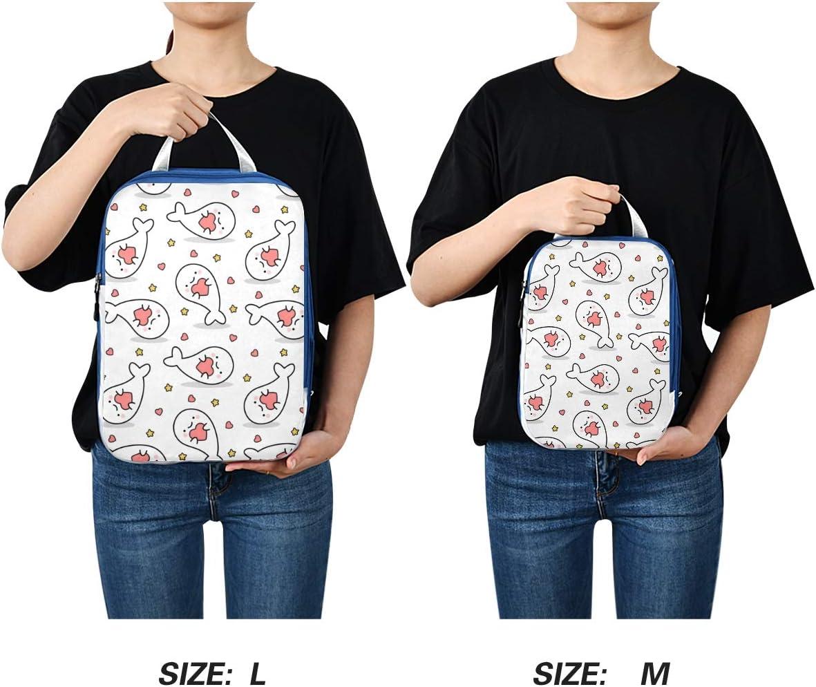 Heart Fish White 3 Set Packing Cubes,2 Various Sizes Travel Luggage Packing Organizers m