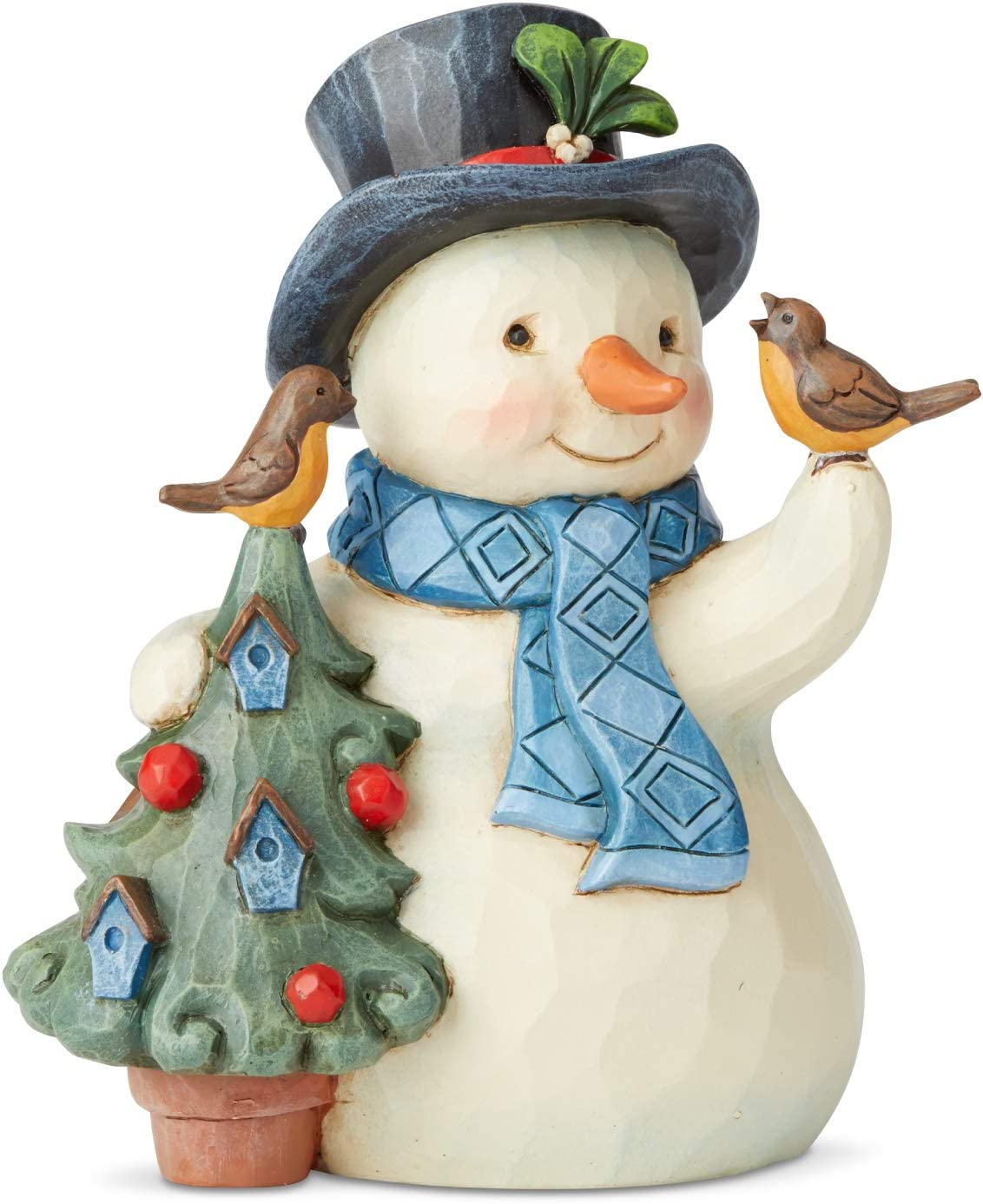 Enesco Jim Shore Heartwood Creek Snowman with Tree and Birds Pint-Size Figurine, 5 Inch, Multicolor