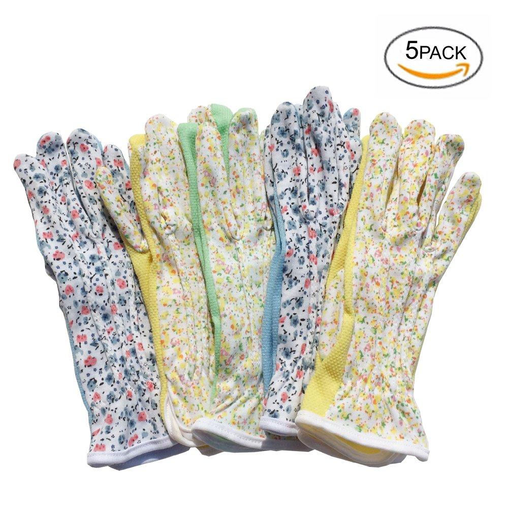 Mam's Garden Flora Gloves for Women Gardening Driving Jogging and Outdoor Activity Set of 5 pairs Medium