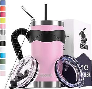 Koodee 20 oz Purple Pink Tumbler Insulated Coffee Cup with 2 Lids, 2 Straws, Straw Brush,Handle (20 oz,Purple Pink)