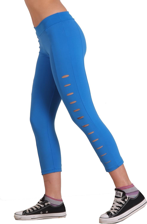 Margarita Black Capri with Blue Cuts Designer Activewear