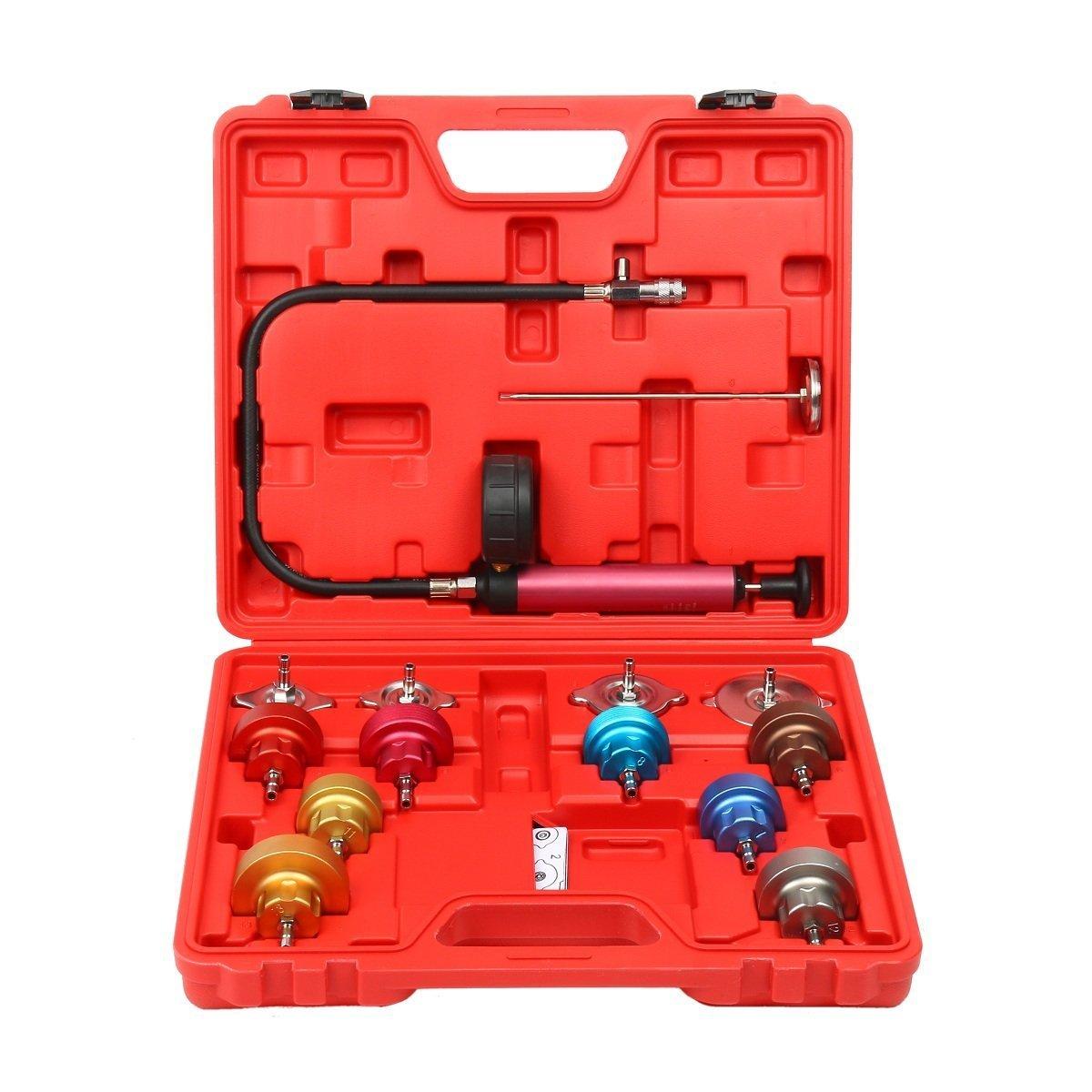 8MILELAKE 14 PCs Pressure Cooling System car Leak Tester Kit Detector Tool Auto Coolant Vacuum Purge Head Gasket Water Tank Adapter Universal Automotive