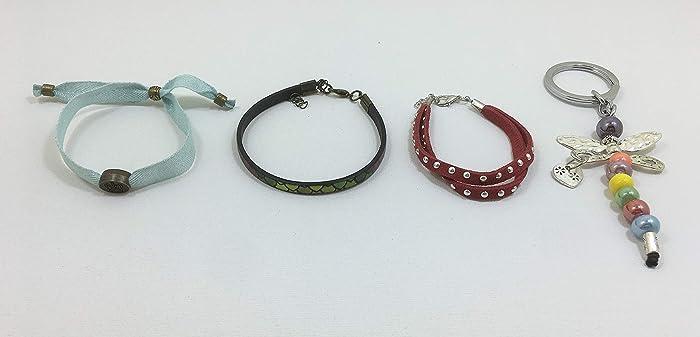 Conjunto de tres pulseras y llavero libélula, hechos a mano ...
