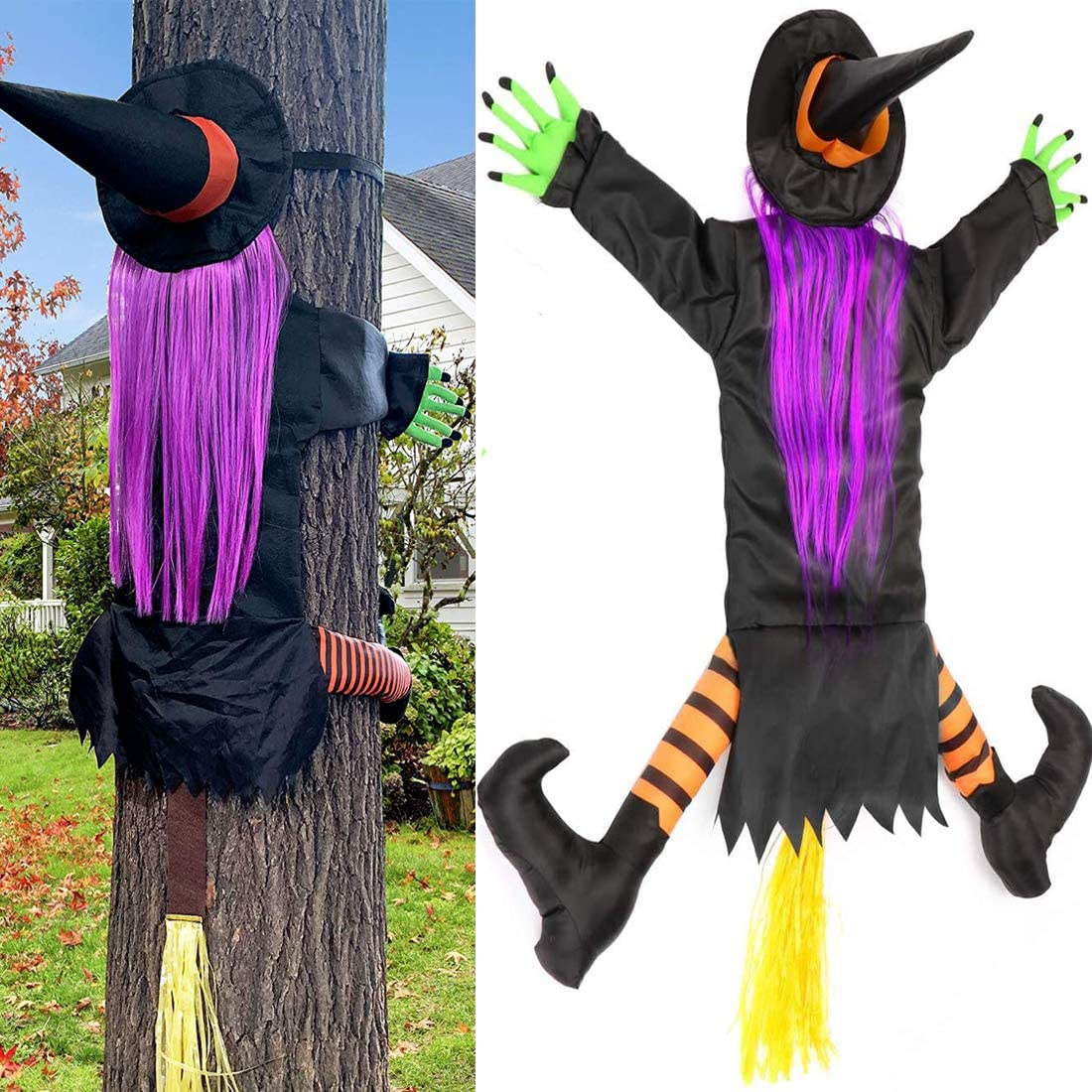 TOPARCHERY Halloween Crashing Witch Decorations Into Tree, Halloween Outdoor Witch Crashing Decorations Hanging Witch