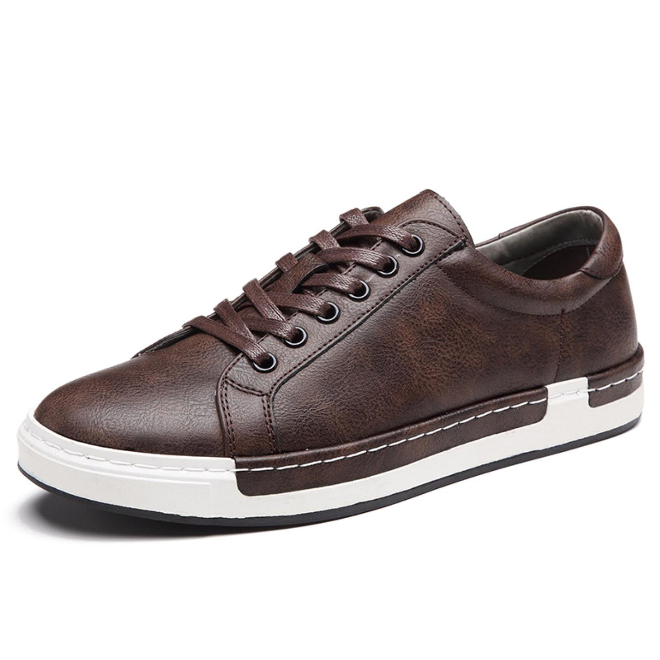 Autumn New Casual Shoes Mens Leather Flats Lace-Up Shoes Simple Stylish Male Shoes