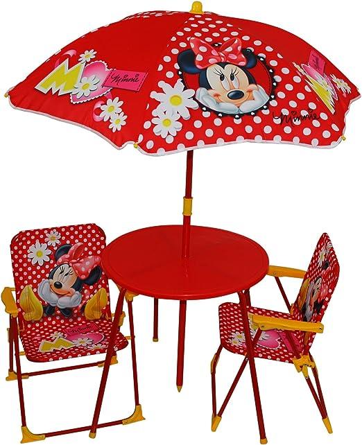 Minnie Mouse Juego de sillas de jardín + 1 Mesa + sombrilla de ...