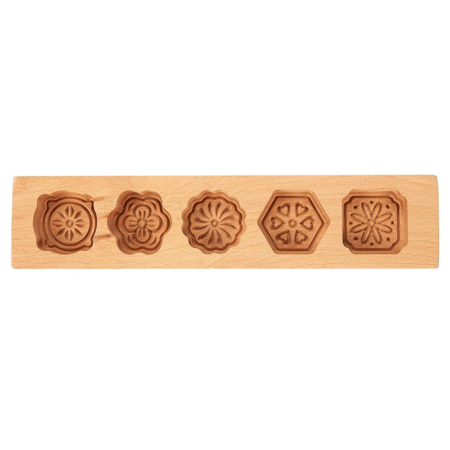 93fca651d Amazon.com: Chinese Mooncake Mold - Wooden Cake Molds for Mooncakes,  Springerle, Cookies, Soap Making, 5 Cavities: Kitchen & Dining