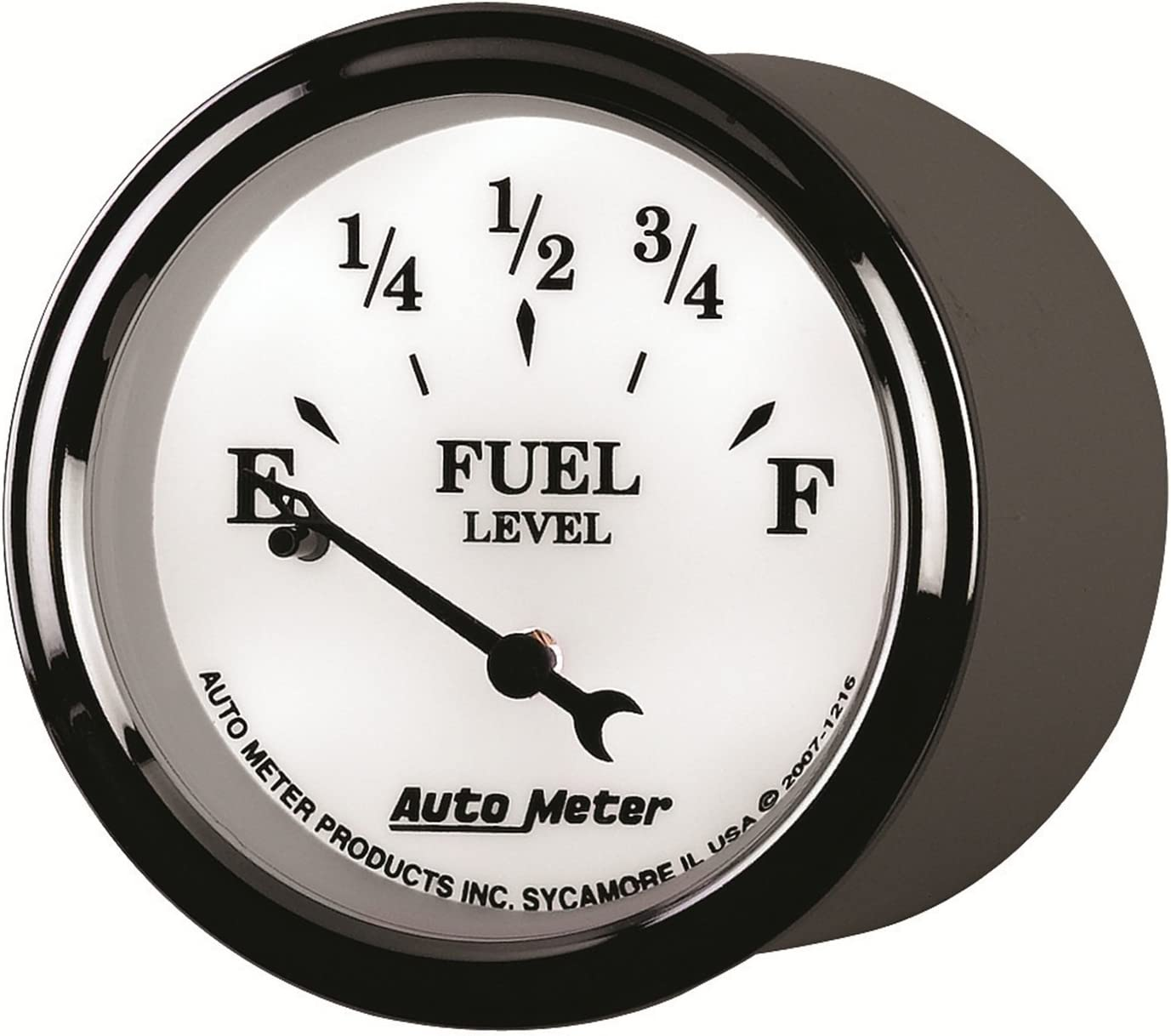 Auto Meter 1216 Old Tyme White II 2-1//16 Short Sweep Electric Fuel Level Gauge