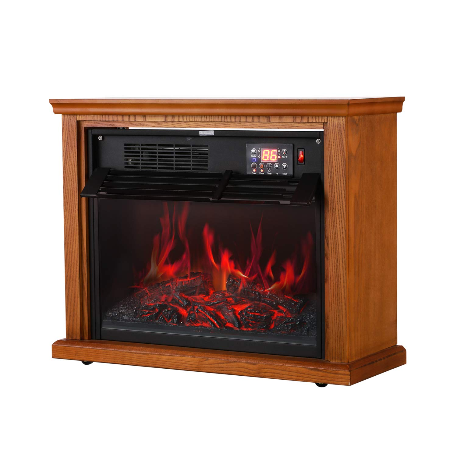 Electric Fireplace Infrared Quartz Heater Adjustable Thermostat 1000W 1500W with Overheat Safety Remote Control 3D Realistic Flame 12 Timer
