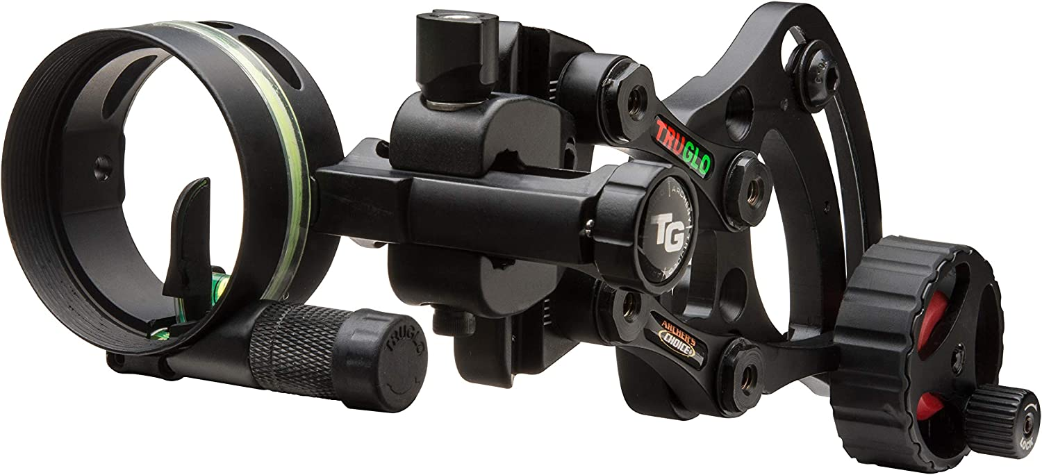 "TRUGLO RANGE-ROVER Series Single-Pin Moving Bow Sight, Black, Left-Handed, .019"" Pin, Toolless Micro-Adjustable Windage"