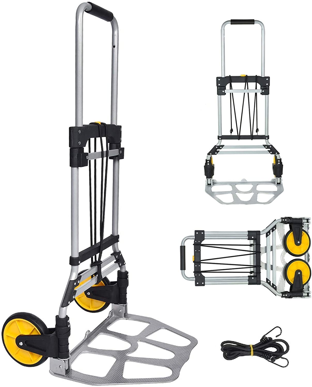 FULLWATT 264 Lb. Capacity Folding Hand Truck and Dolly Cart Aluminum