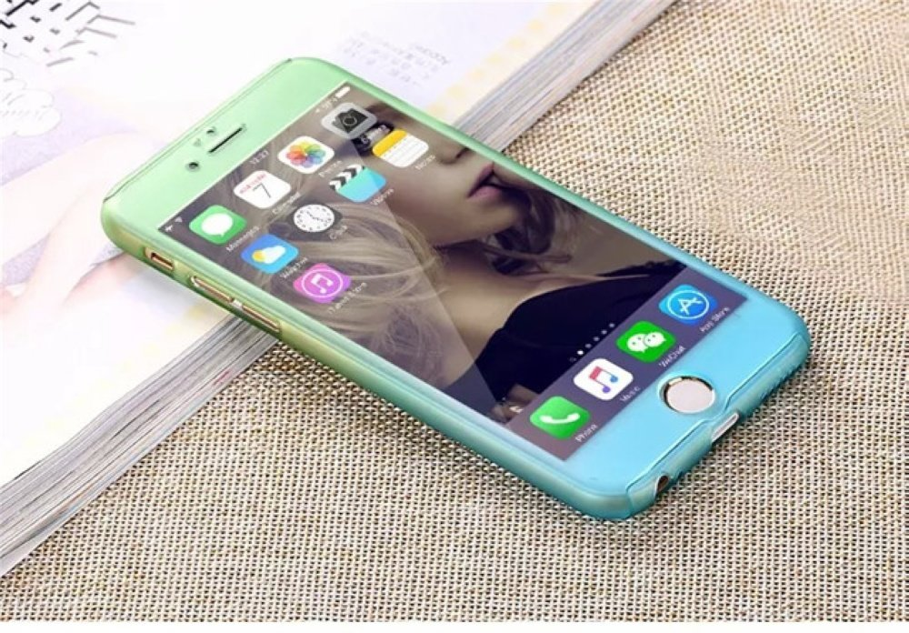 Liberwill Luxury ombre Ultra-thin Hybrid Impact 360 Full Body Coverage Protective Case Shockproof Cover with Tempered Glass Screen Protector for iPhone 6 6S 4.7 inch Green / Blue by Liberwill