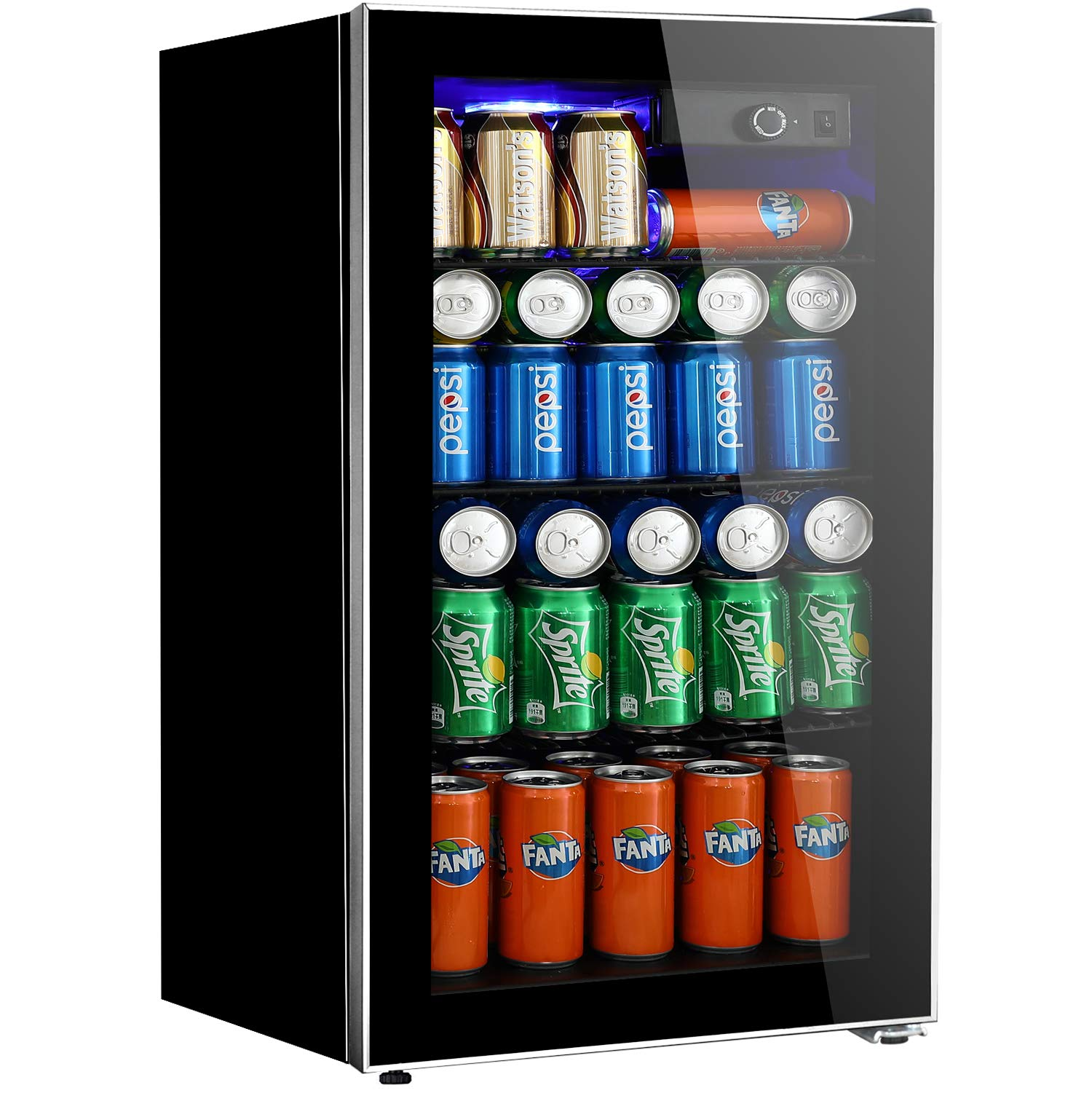 Tavata Beverage Refrigerator and Cooler - 3.2 Cu. Ft. Drink Fridge with Glass Door for Soda, Beer or Wine - Small Beverage Center with 3 Removable Shelves for Office/Man Cave/Basements/Home Bar by Tavata
