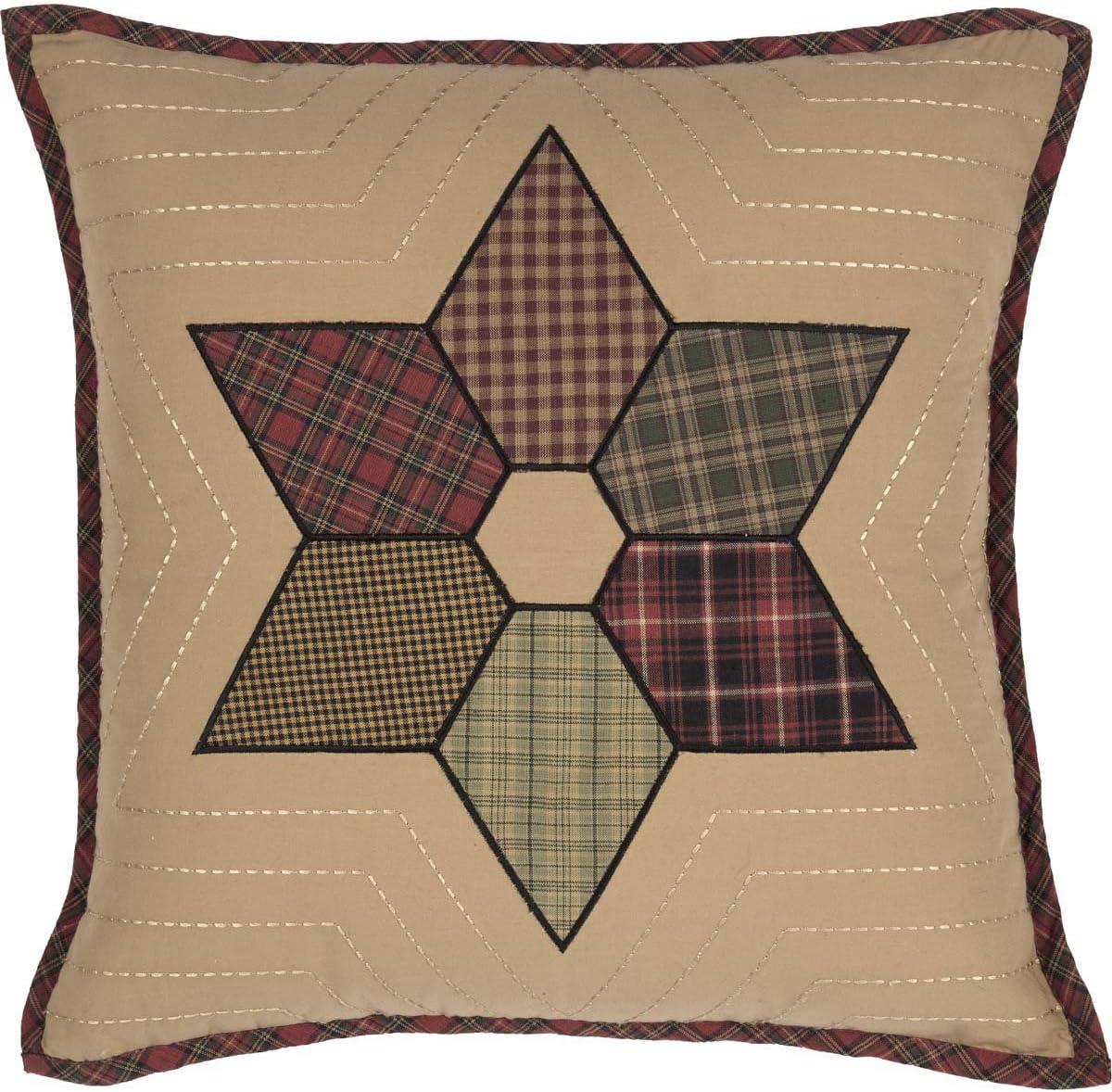 VHC Brands Rustic Lodge Primitive Pillows Throws-Tea Star Patchwork 18 x 18 Pillow, Dark Tan